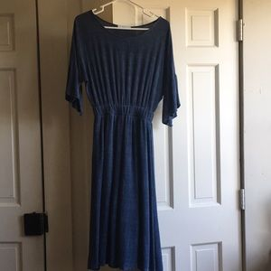 Roolee Blue Simple Boho Textured Flowy Midi Dress